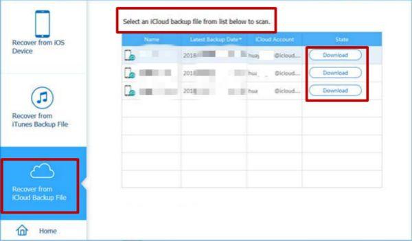 登陸iCloud帳號並掃描iCloud備份檔案