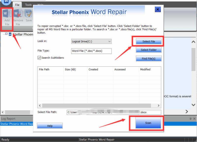 匯入Word檔案到Word修復工具